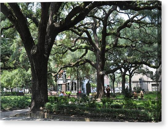 Reynolds Square In Savannah Canvas Print by Kay Mathews