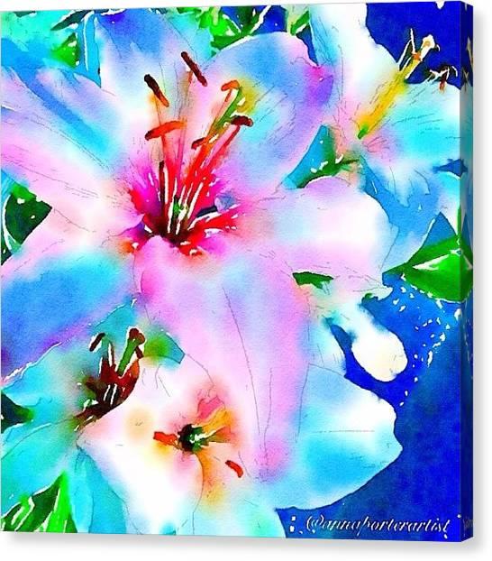 Lilies Canvas Print - Rhapsody In Blue by Anna Porter