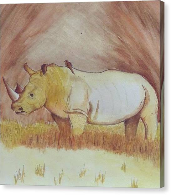 Rhinos Canvas Print - Rhino Done With Watercolour Paints #art by Emily Roberts