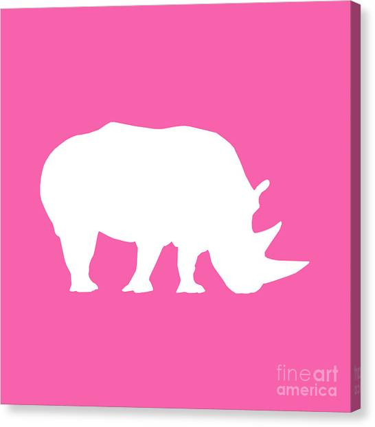 Rhino In Pink And White Canvas Print