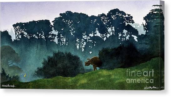 Rhinos Canvas Print - Rhino In The Rough... by Will Bullas