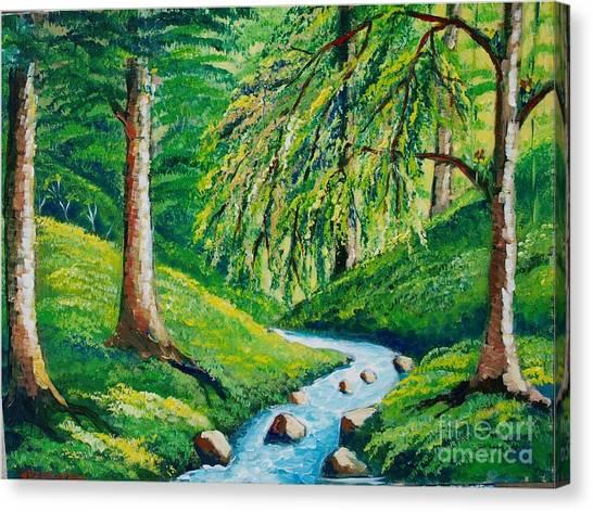 Riachuelo En El Bosque Tropical Canvas Print