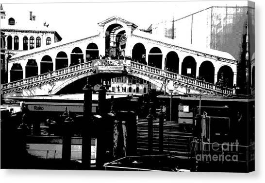 Rialto Bridge - Black And White Canvas Print by Jacqueline M Lewis