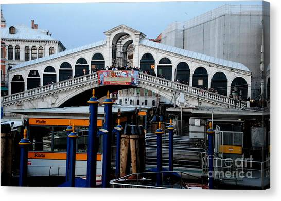 Rialto Bridge - Color Canvas Print by Jacqueline M Lewis