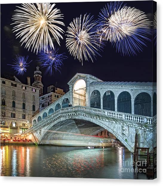 Fireworks Canvas Print - Rialto Bridge Fireworks by Delphimages Photo Creations
