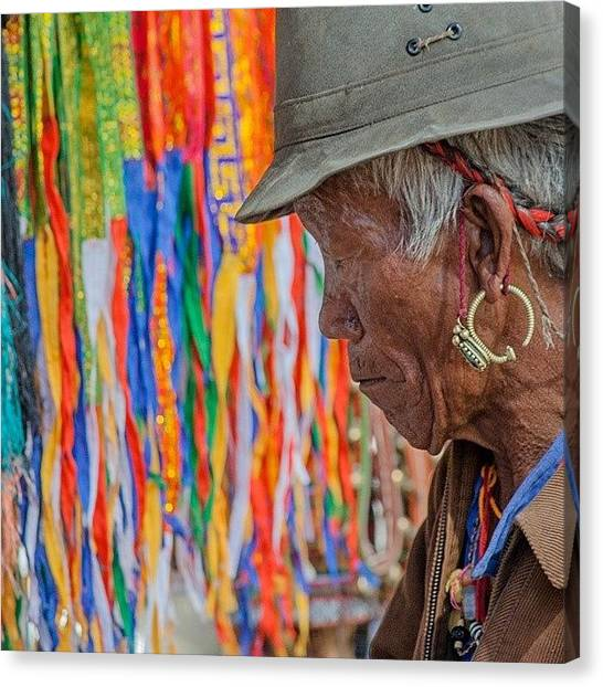 Men Canvas Print - Ribbons And Old Man by Hitendra SINKAR