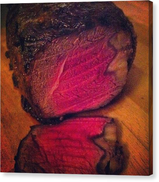 Ribeye Canvas Print - #ribeye #foodporn by Finnur Magnusson