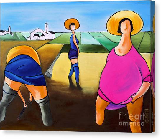 Rice Pullers Canvas Print