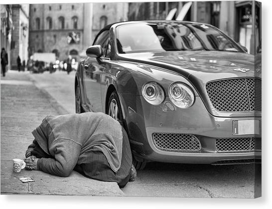 Money Canvas Print - Rich And Poor by Michele Chiroli