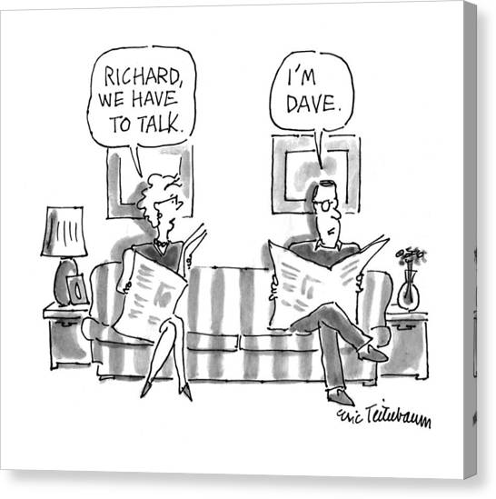 Reading The Paper Canvas Print - 'richard, We Have To Talk.' 'i'm Dave.' by Eric Teitelbaum