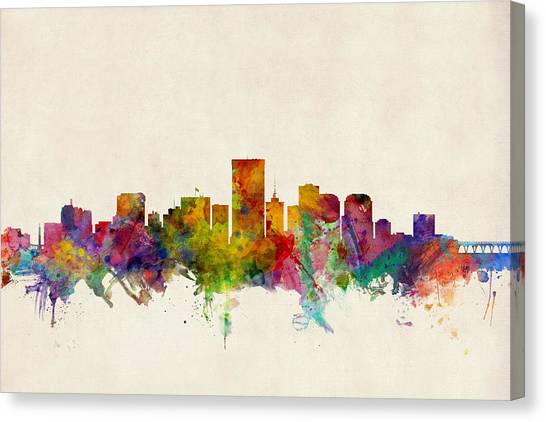 Urban Canvas Print - Richmond Virginia Skyline by Michael Tompsett