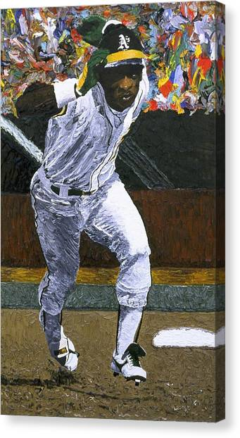 Athletics Canvas Print - Rickey Henderson by Mike Rabe