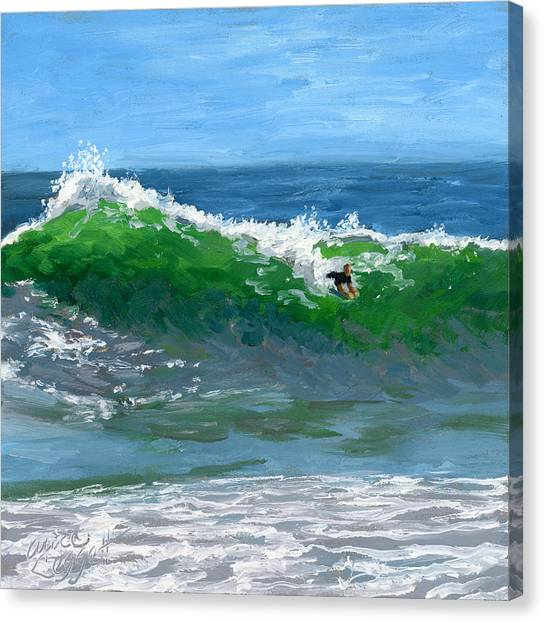 Surfboard Canvas Print - Ride The Wild Wedge by Alice Leggett
