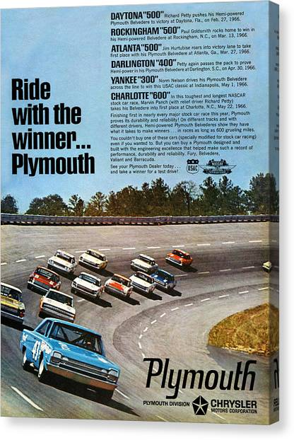 Daytona 500 Canvas Print - Ride With The Winner... Plymouth by Digital Repro Depot