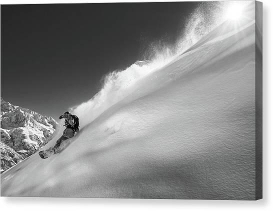 Snowboarding Canvas Print - Ridge by Jakob Sanne