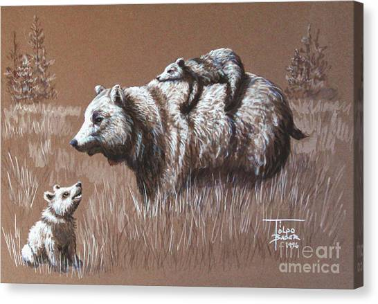 Riding Bear Back Canvas Print