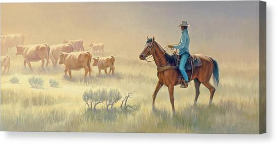 Cowboys Canvas Print - Riding Drag by Paul Krapf