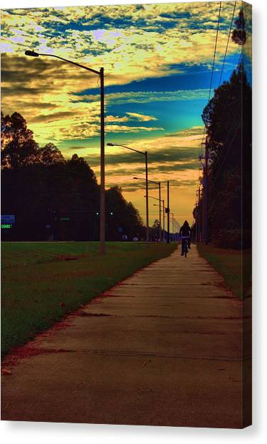 Riding Into The Sunset Canvas Print