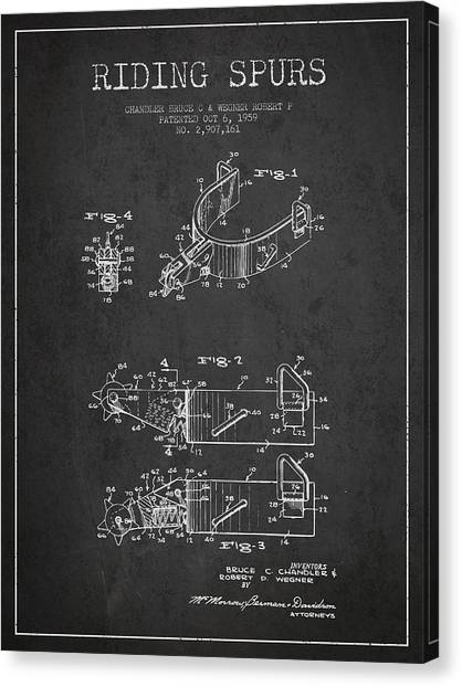 Spurs Canvas Print - Riding Spurs Patent Drawing From 1959 - Dark by Aged Pixel