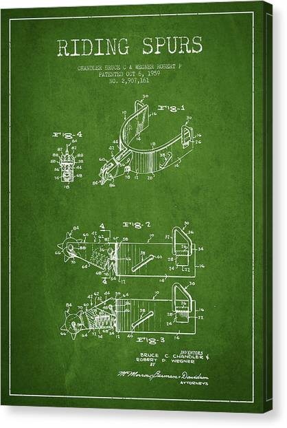 Spurs Canvas Print - Riding Spurs Patent Drawing From 1959 - Green by Aged Pixel