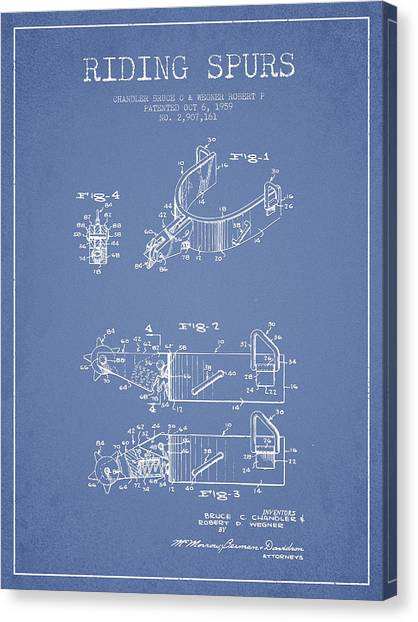Spurs Canvas Print - Riding Spurs Patent Drawing From 1959 - Light Blue by Aged Pixel