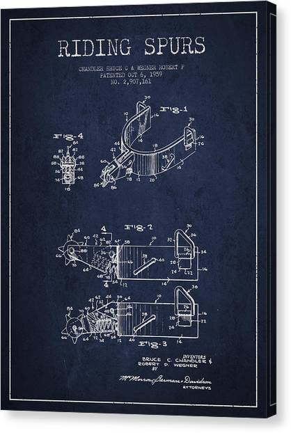 Spurs Canvas Print - Riding Spurs Patent Drawing From 1959 - Navy Blue by Aged Pixel