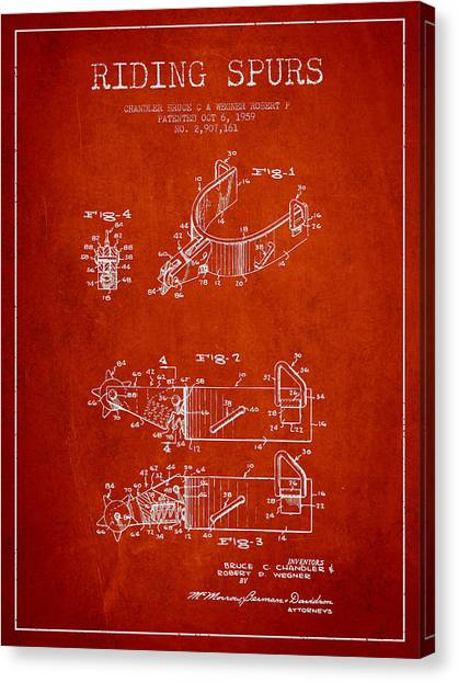 Spurs Canvas Print - Riding Spurs Patent Drawing From 1959 - Red by Aged Pixel