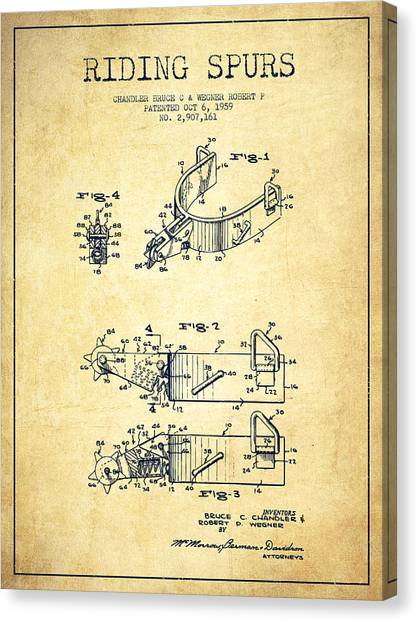 Spurs Canvas Print - Riding Spurs Patent Drawing From 1959 - Vintage by Aged Pixel