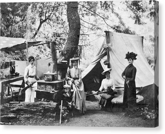 Shotguns Canvas Print - Rifle Women In Camp by Underwood Archives