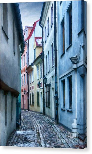 Riga Narrow Street Painting Canvas Print