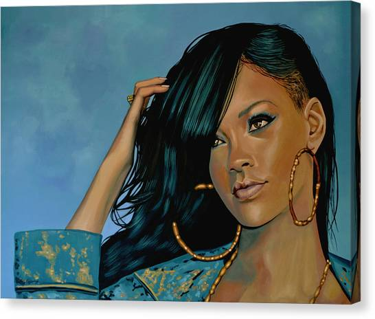 Rihanna Canvas Print - Rihanna Painting by Paul Meijering