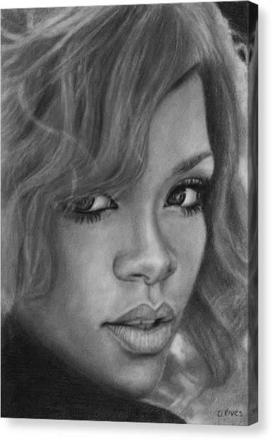 Rihanna Pencil Drawing Canvas Print