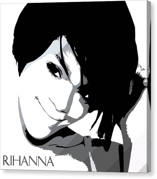 Rihanna Canvas Print - Rihanna Warholesque By Gbs by Anibal Diaz