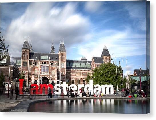 Canvas Print featuring the photograph Rijksmuseum And The Giant Letters Of Amsterdam by Georgi Djadjarov