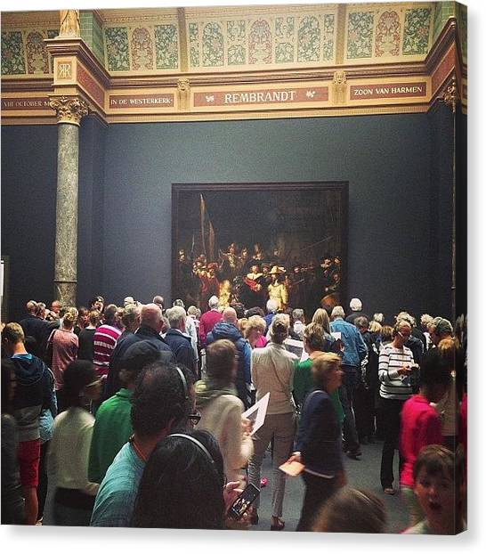 Rembrandt Canvas Print - #rijksmuseum Lots Of #rembrandt Fans by Valentin Vesa