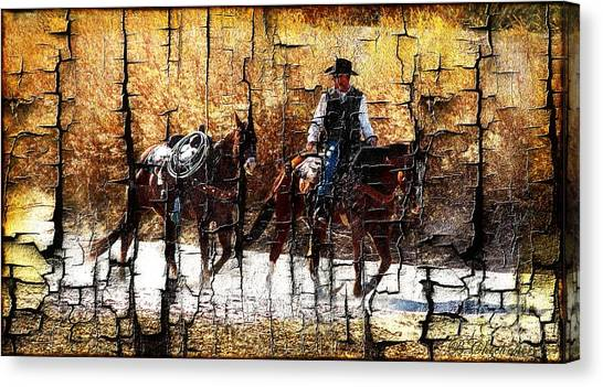 Western Pleasure Canvas Print - Rio Cowboy With Horses  by Barbara Chichester