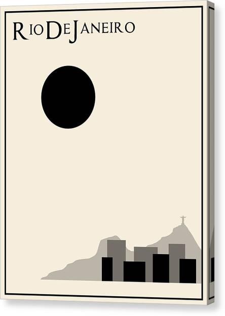 Rio De Janeiro Skyline Canvas Print - Rio De Janeiro Minimalist Travel Poster by Finlay McNevin
