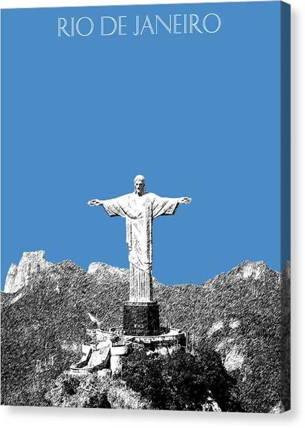 Rio De Janeiro Skyline Canvas Print - Rio De Janeiro Skyline Christ The Redeemer - Slate by DB Artist