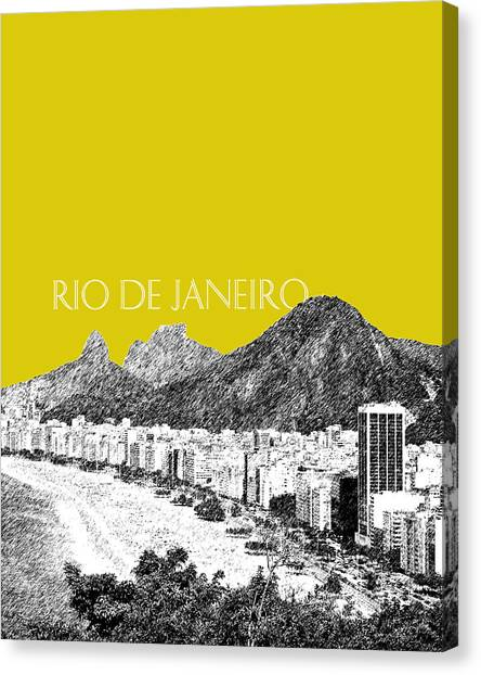 Rio De Janeiro Skyline Canvas Print - Rio De Janeiro Skyline Copacabana Beach - Mustard  by DB Artist