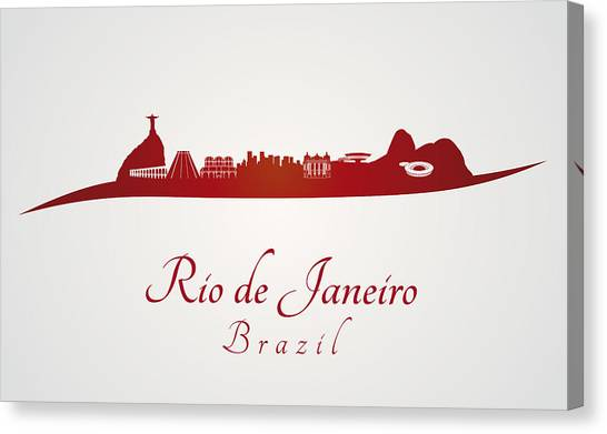 Rio De Janeiro Skyline Canvas Print - Rio De Janeiro Skyline In Red by Pablo Romero