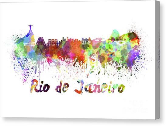 Rio De Janeiro Skyline Canvas Print - Rio De Janeiro Skyline In Watercolor by Pablo Romero