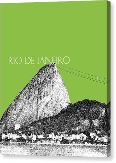 Rio De Janeiro Skyline Canvas Print - Rio De Janeiro Skyline Sugarloaf Mountain - Olive by DB Artist