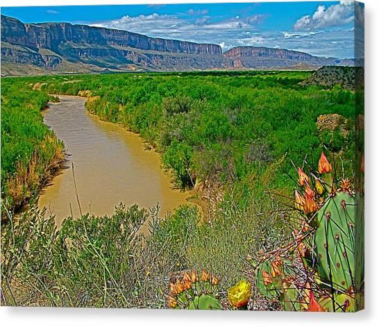 Rio Grande East Of Santa Elena Canyon In  Big Bend National Park-texas Canvas Print