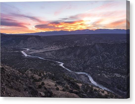 Rio Grande Canvas Print - Rio Grande River Sunrise - White Rock New Mexico by Brian Harig