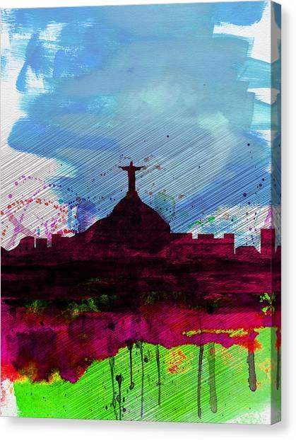 Brazilian Canvas Print - Rio Watercolor Skyline by Naxart Studio