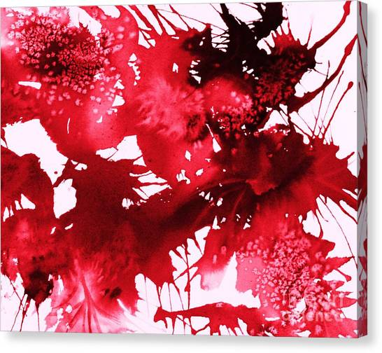 Splashy Art Canvas Print - Riot Of Red Abstract by Ellen Levinson