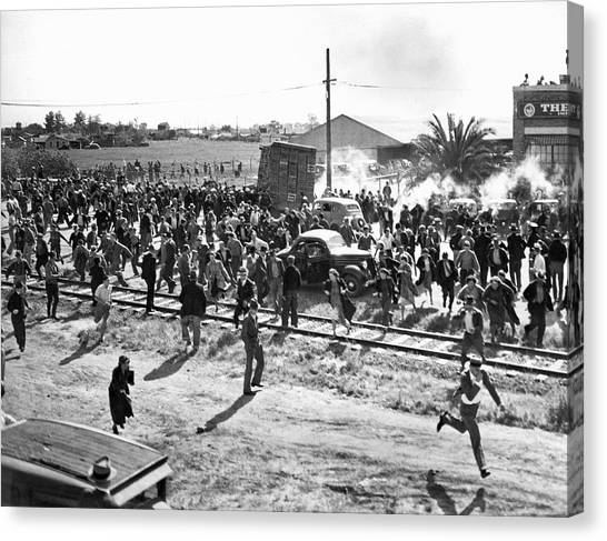 Spinach Canvas Print - Riots At Cannery Strike by Underwood Archives