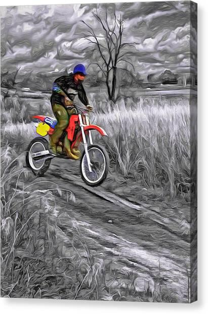 Motocross Canvas Print - Rippin' - Paint by Steve Harrington