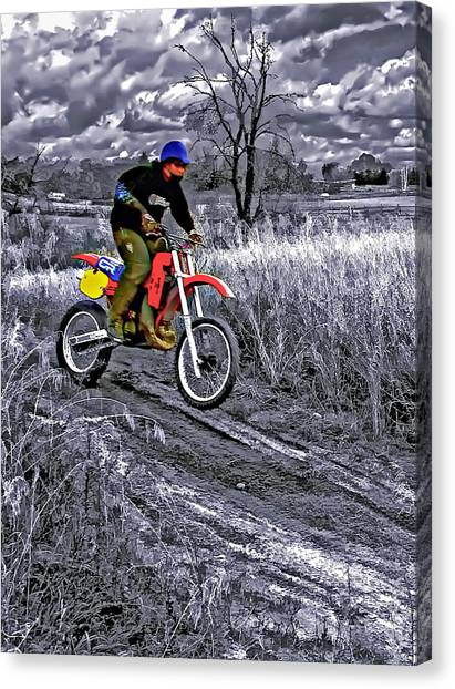 Motocross Canvas Print - Rippin' by Steve Harrington