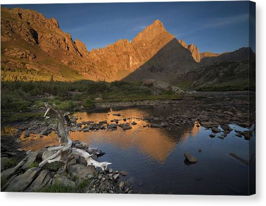 Rippled Reflections Of Crestone Needle Canvas Print by Mike Berenson